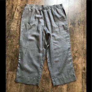 J.Jill Linen Cropped Pants in Shale